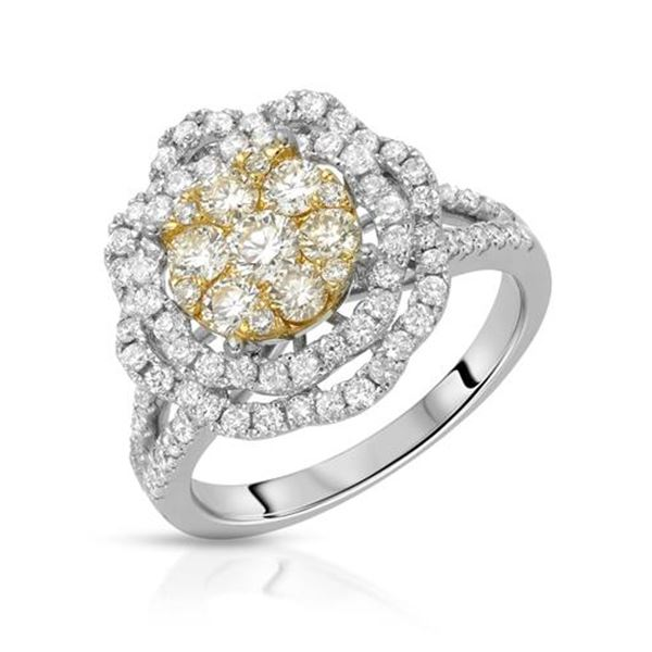 Natural 1.48 CTW Diamond Ring 14K Two Tone Gold - REF-180R2K