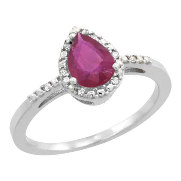 1.05 CTW Ruby & Diamond Ring 10K White Gold - REF-20V8R