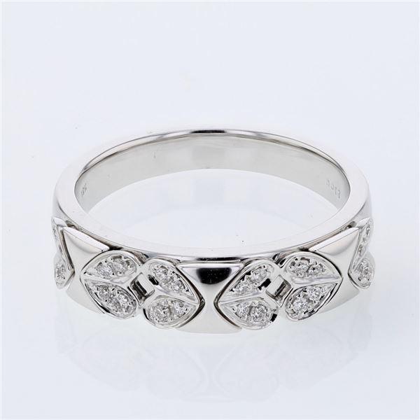 Natural 0.12 CTW Diamond Band Ring 18K White Gold - REF-65M7F