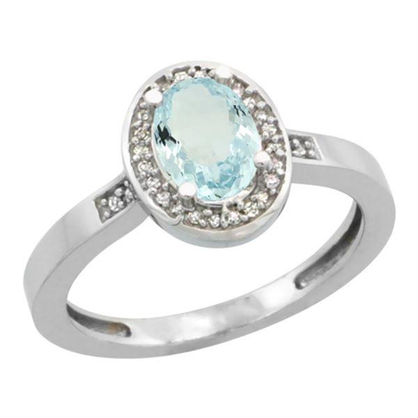 0.86 CTW Aquamarine & Diamond Ring 14K White Gold - REF-39H9M