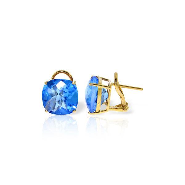 Genuine 7.2 ctw Blue Topaz Earrings 14KT Yellow Gold - REF-46W5Y