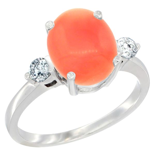 0.20 CTW Diamond & Natural Coral Ring 14K White Gold - REF-68V2R
