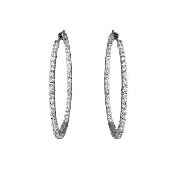 Natural 1.78 CTW Diamond Earrings 14K White Gold - REF-152X3T