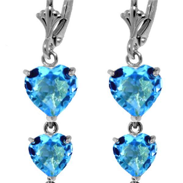 Genuine 6 ctw Blue Topaz Earrings 14KT White Gold - REF-66Z9N