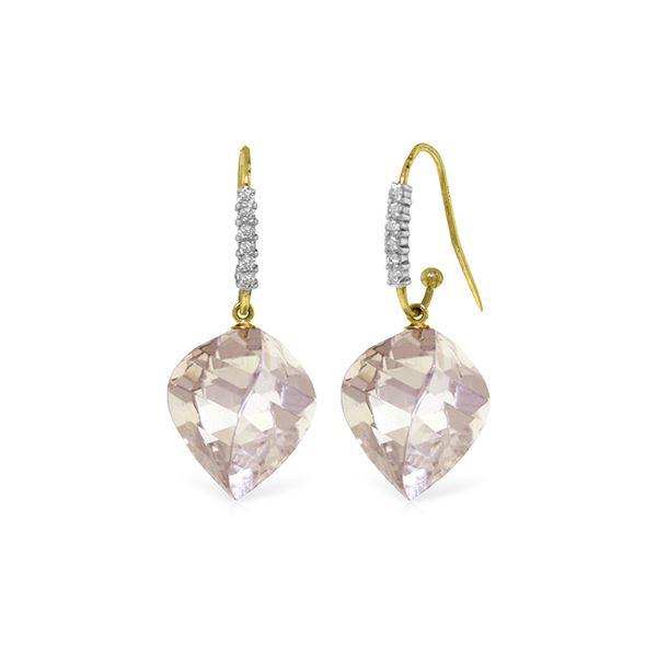 Genuine 25.78 ctw White Topaz & Diamond Earrings 14KT Yellow Gold - REF-66W2Y