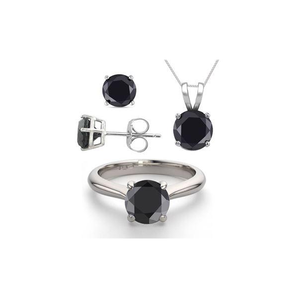 14K White Gold SET 3.20CTW Black Diamond Ring, Earrings, Necklace - REF-199R8X