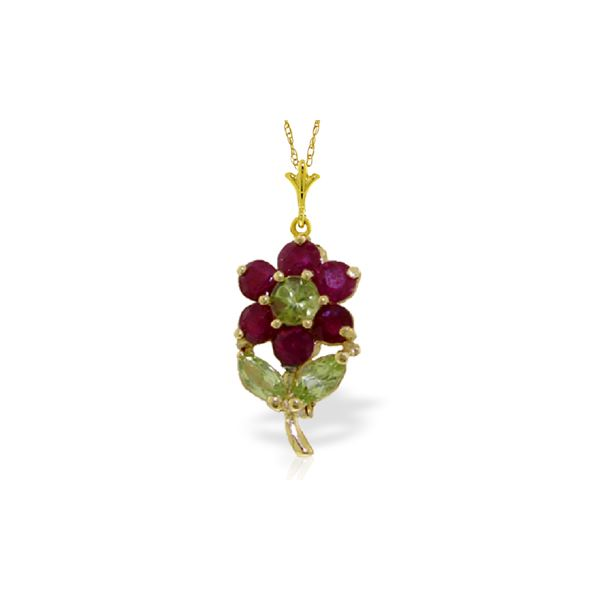 Genuine 1.06 ctw Peridot & Ruby Necklace 14KT Yellow Gold - REF-26P9H