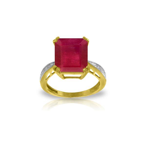 Genuine 7.27 ctw Ruby & Diamond Ring 14KT Yellow Gold - REF-120X2M