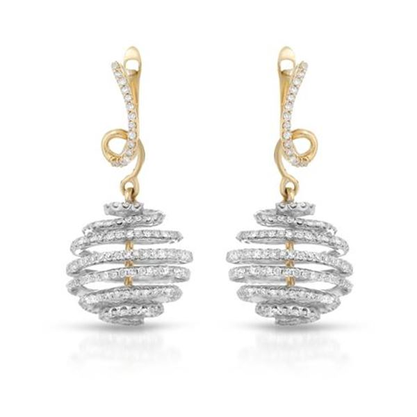 Natural 1.59 CTW Diamond Earrings 14K Two Tone Yellow Gold - REF-119Y7N