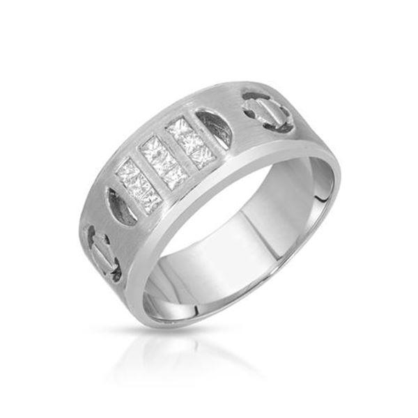 Natural 0.38 CTW Princess Diamond Ring 14K White Gold - REF-96R3K