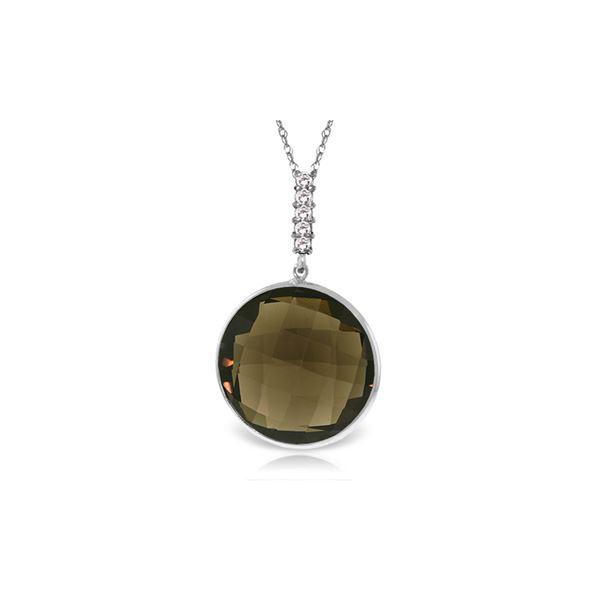 Genuine 17.08 ctw Smoky Quartz & Diamond Necklace 14KT White Gold - REF-49M8T