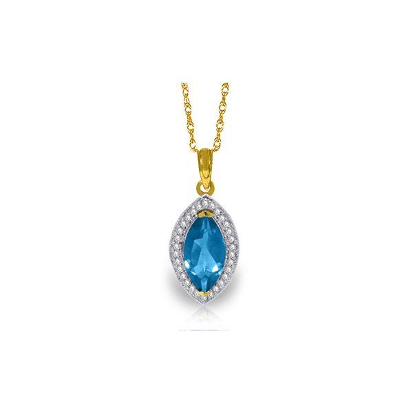 Genuine 2.4 ctw Blue Topaz & Diamond Necklace 14KT Yellow Gold - REF-62V2W