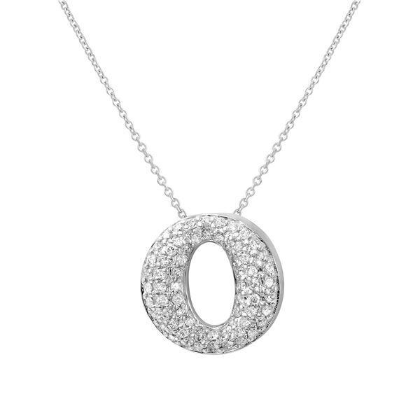 Natural 0.60 CTW Diamond Necklace 14K White Gold - REF-62H3W