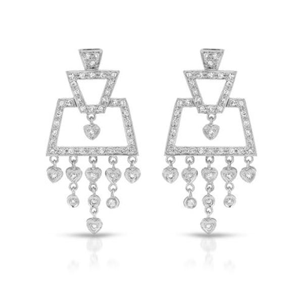 Natural 0.87 CTW Diamond Earrings 18K White Gold - REF-136X8T