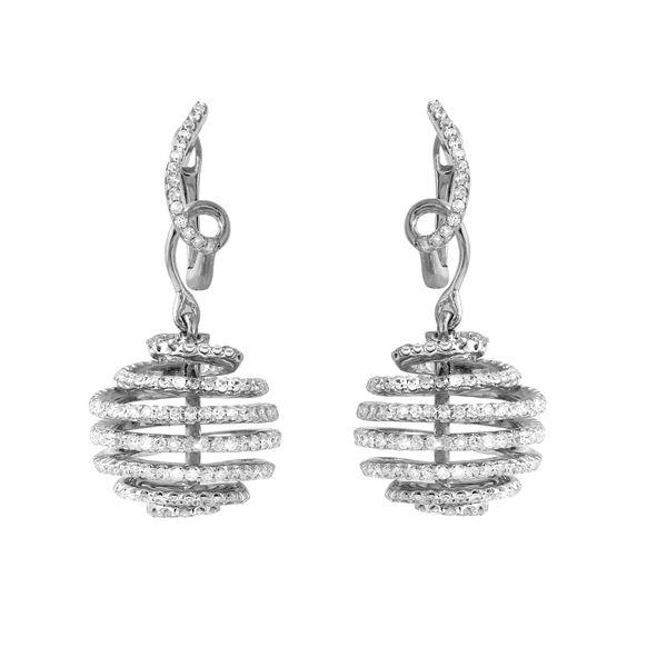 Natural 1.59 CTW Diamond Earrings 14K White Gold - REF-124M2F