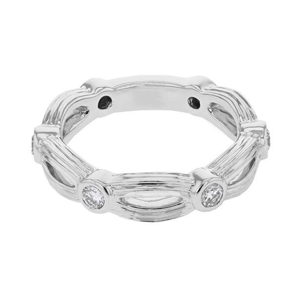 Natural 0.38 CTW Diamond Ring 18K White Gold - REF-87M3F