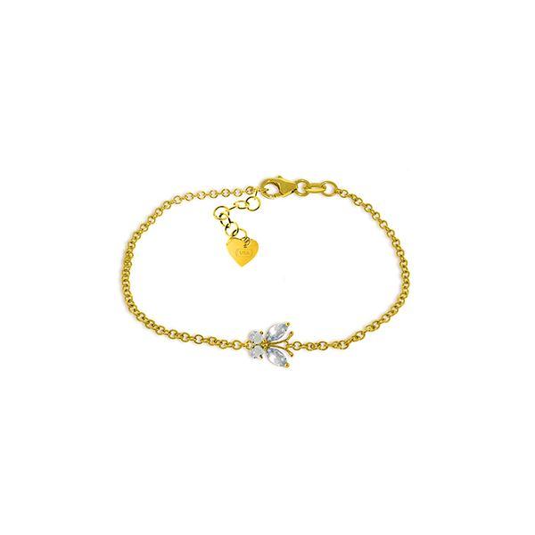 Genuine 0.60 ctw Aquamarine Bracelet 14KT Yellow Gold - REF-42R7P