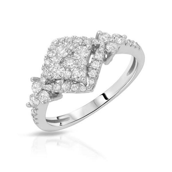 Natural 0.74 CTW Diamond Ring 14K White Gold - REF-84M6F