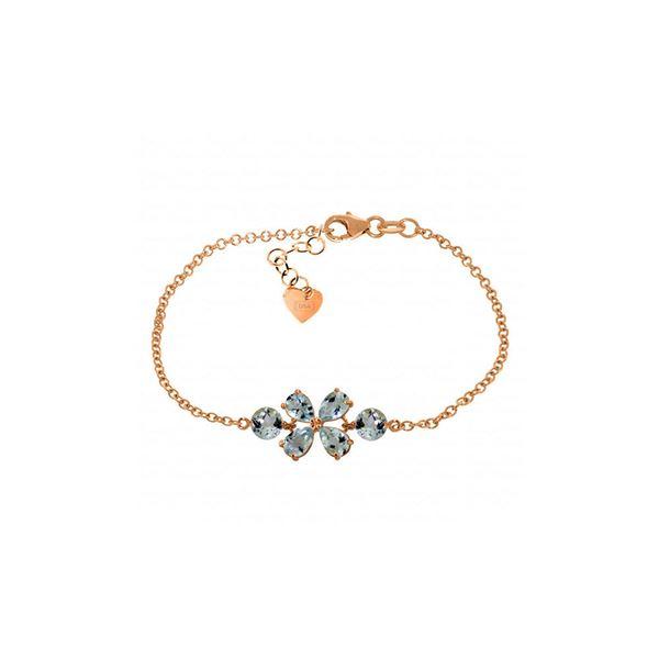 Genuine 3.15 ctw Aquamarine Bracelet 14KT Rose Gold - REF-62M7T