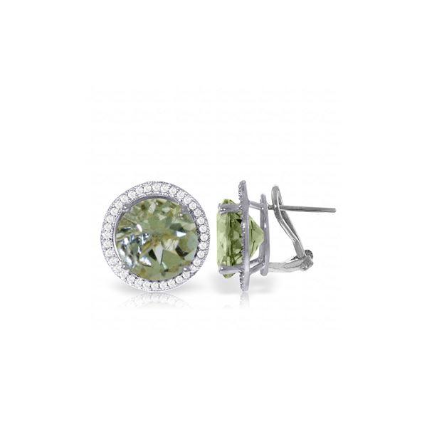 Genuine 10.40 ctw Green Amethyst & Diamond Earrings 14KT White Gold - REF-120P5H