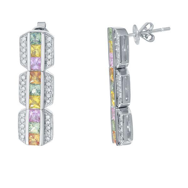 Natural 3.43 CTW Multi-Sapphire & Diamond Earrings W=27MM 14K Gold - REF-106R2K