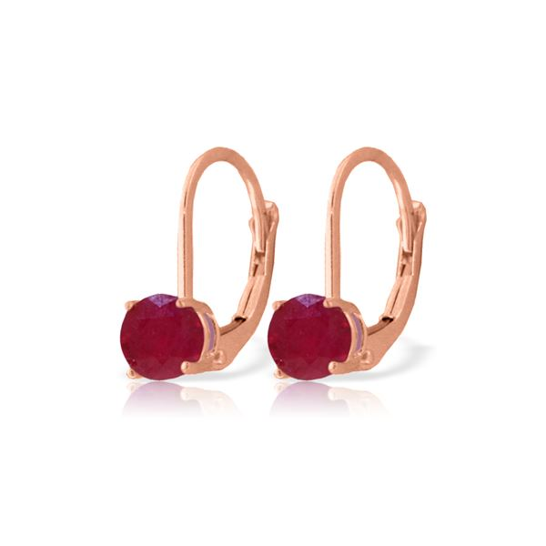 Genuine 1.20 ctw Ruby Earrings 14KT Rose Gold - REF-27N2R