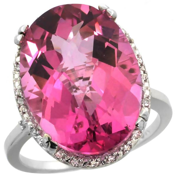 13.71 CTW Pink Topaz & Diamond Ring 14K White Gold - REF-59M4K