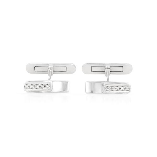 Natural 0.09 CTW Diamond Cuff Links 14K White Gold - REF-64H8W