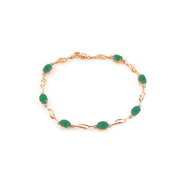Genuine 3.51 ctw Emerald & Diamond Bracelet 14KT Rose Gold - REF-118K2V