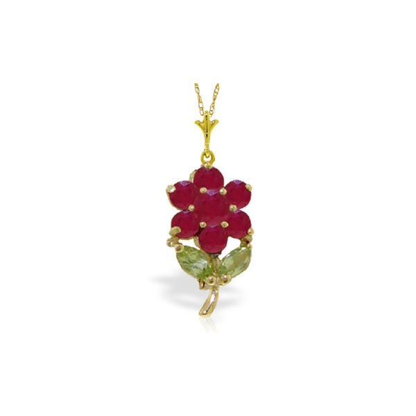 Genuine 1.06 ctw Peridot & Ruby Necklace 14KT Yellow Gold - REF-28W2Y