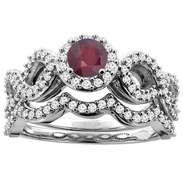 1.10 CTW Ruby & Diamond Ring 14K White Gold - REF-93Y6V