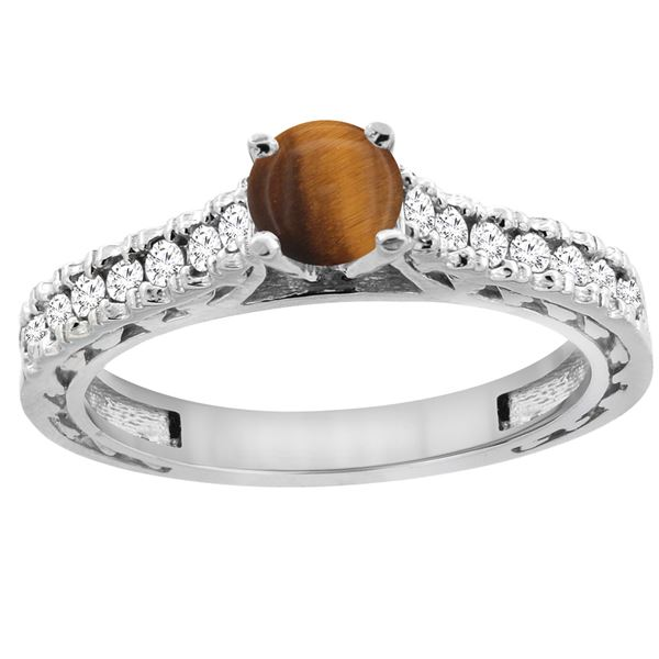 0.90 CTW Tiger Eye & Diamond Ring 14K White Gold - REF-62K5W