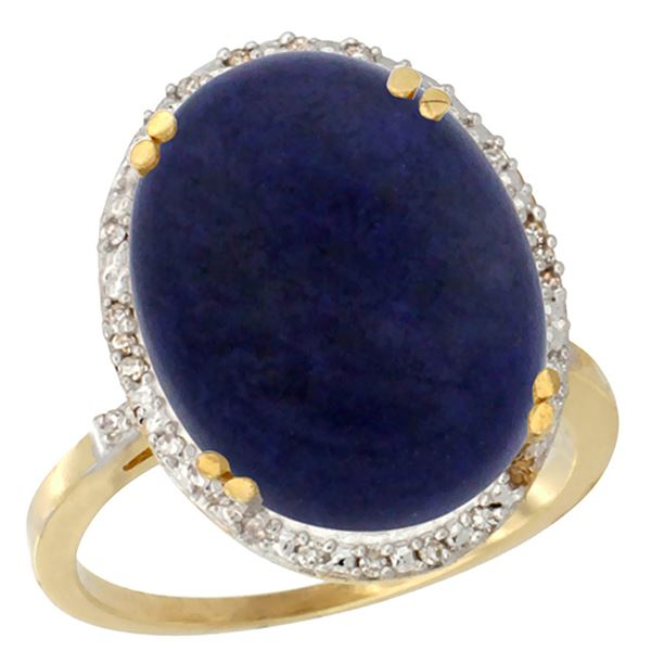 9.60 CTW Lapis Lazuli & Diamond Ring 14K Yellow Gold - REF-53V9R