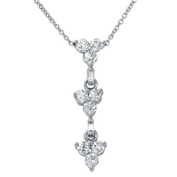 Natural 0.75 CTW Diamond & Baguette Necklace 14K White Gold - REF-72Y2N