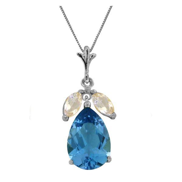 Genuine 6.5 ctw Blue Topaz & White Topaz Necklace 14KT White Gold - REF-38Y2F