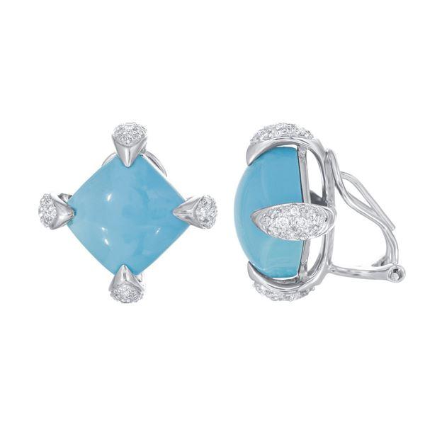 Natural 14.92 CTW Turquoise & Diamond Earrings 14K White Gold - REF-95H4W