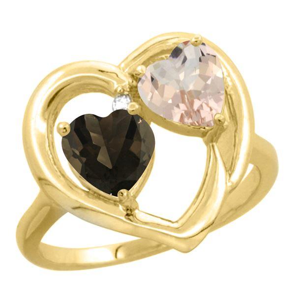 1.91 CTW Diamond, Quartz & Morganite Ring 14K Yellow Gold - REF-36V6R