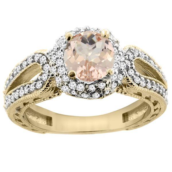 1.20 CTW Morganite & Diamond Ring 14K Yellow Gold - REF-89F7N