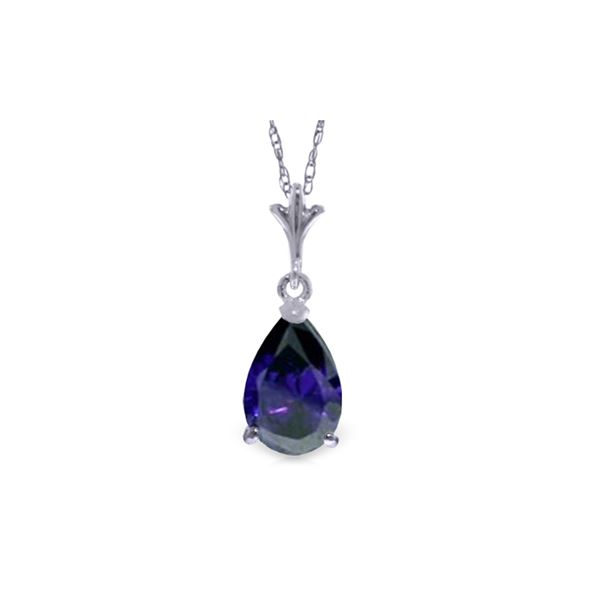 Genuine 1.50 ctw Sapphire Necklace 14KT White Gold - REF-24R5P