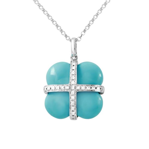 Natural 8.96 CTW Turquoise & Diamond Necklace 14K White Gold - REF-34R2K