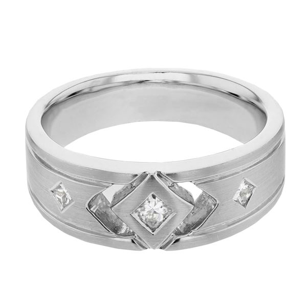 Natural 0.35 CTW Princess Diamond Ring 14K White Gold - REF-83Y7N