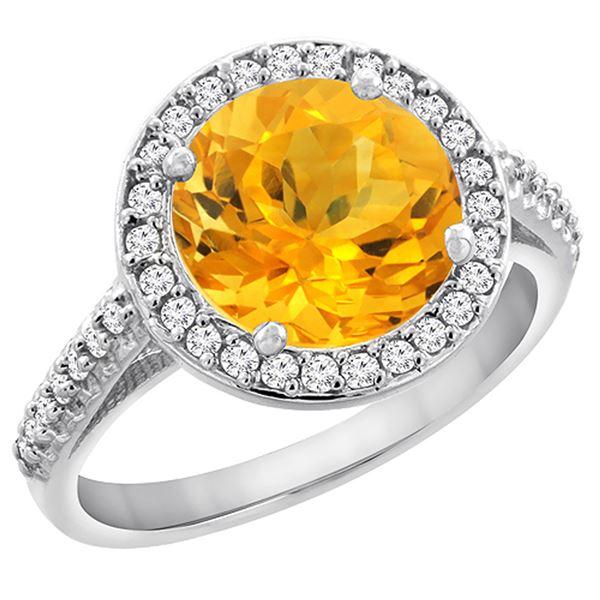 2.44 CTW Citrine & Diamond Ring 10K White Gold - REF-57K3W