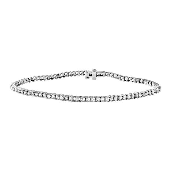 Natural 3 CTW Diamond & Bracelet 18K White Gold - REF-407X7T