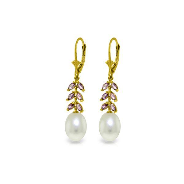 Genuine 9.2 ctw Pearl & Amethyst Earrings 14KT Yellow Gold - REF-45K8V