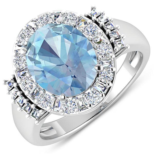 Natural 3.53 CTW Aquamarine & Diamond Ring 14K White Gold - REF-134X2K