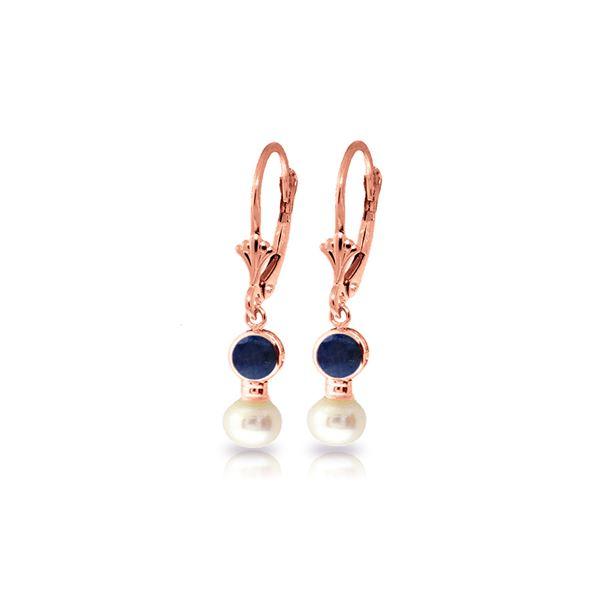 Genuine 5.2 ctw Sapphire & Pearl Earrings 14KT Rose Gold - REF-39R8P