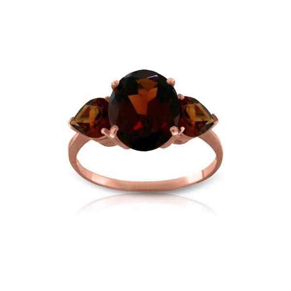 Genuine 4.1 ctw Garnet Ring 14KT Rose Gold - REF-40F3Z