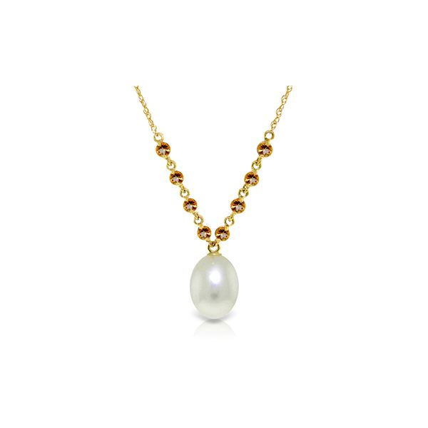 Genuine 5 ctw Pearl & Citrine Necklace 14KT Yellow Gold - REF-25R4P