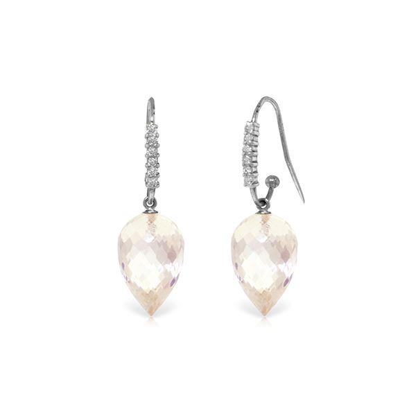 Genuine 24.68 ctw White Topaz & Diamond Earrings 14KT White Gold - REF-64W7Y