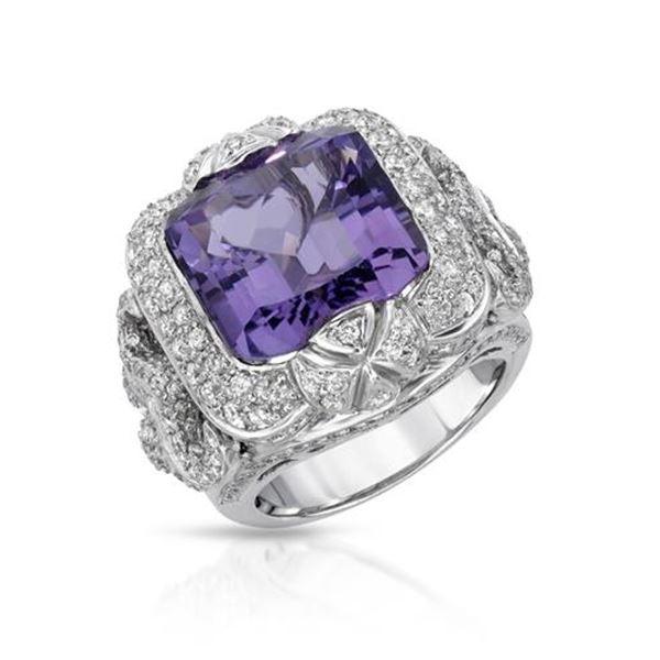 Natural 12.87 CTW Amethyst & Diamond Ring 18K White Gold - REF-354H6W